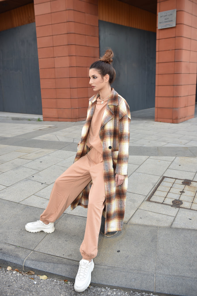 PLAID BUTTONED SHACKET OVERCOAT