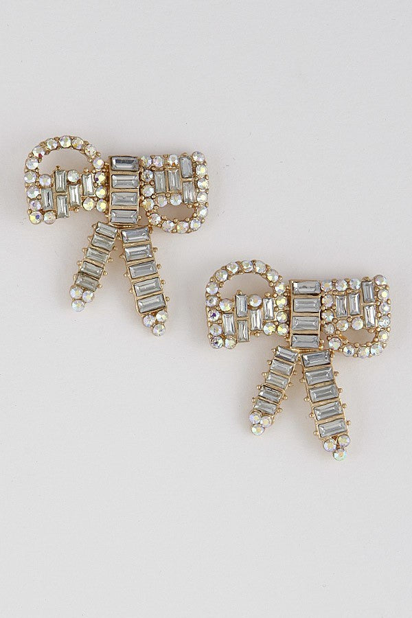 Rhinestone Ribbon Earrings
