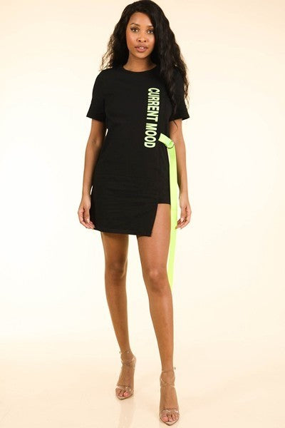 Neon Belt Tunic Dress