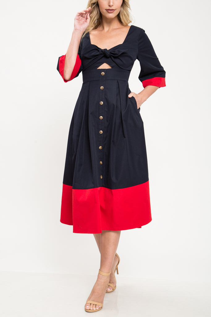 Midi Dress Navy/Red