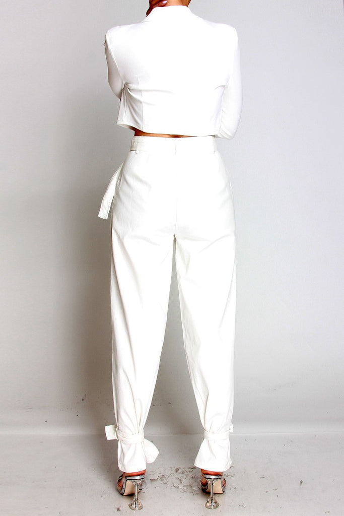 High waist belt detail pants