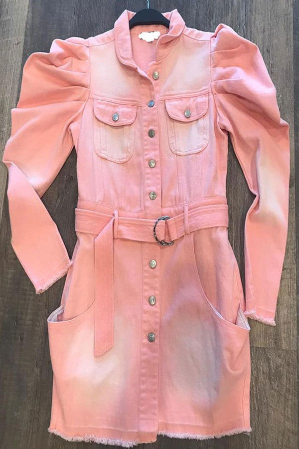 Pink Puff Sleeves Denim Dress