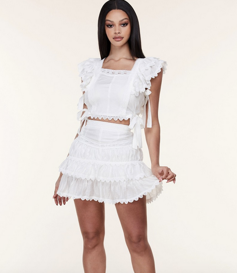 WHITE Crochet Trim Two Piece Set