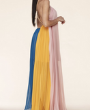 COLORBLOCK PLEATED MAXI DRESS