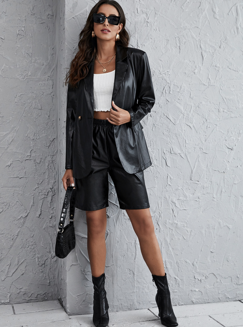 PU Leather Blazer & Shorts Set