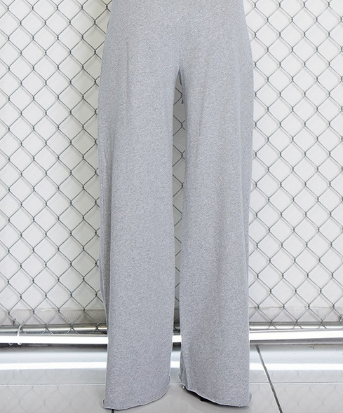 HIGH RISE SMOCKED CUTOUT WIDE LEG SWEAT PANTS