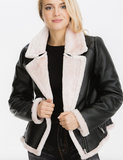 FAUX FUR TRIM AVIATOR JACKET