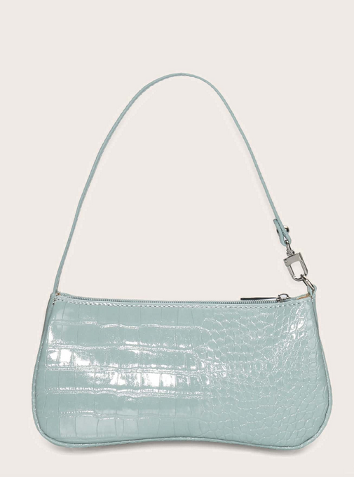 CROCO EMBOSSED BAGUETTE BAG