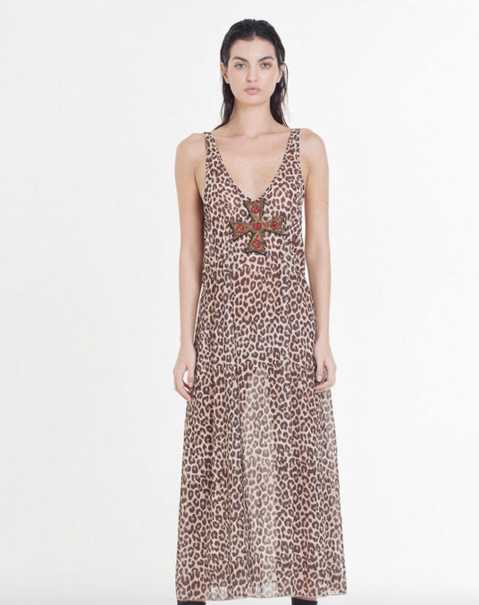 Georgette Leopard Maxi Dress