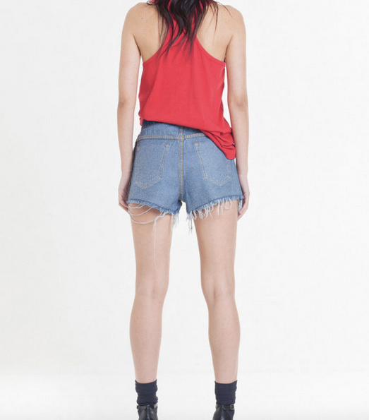 Face Over Denim Shorts