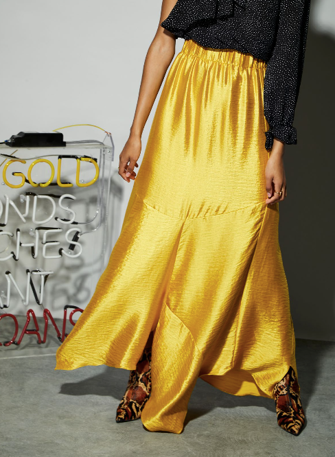 Asymmetric Yellow Skirt