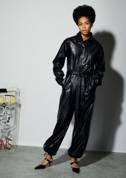 Midnight Faux Leather Jumpsuit