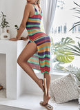 COLORFUL STRIPED SPLIT COVER UP