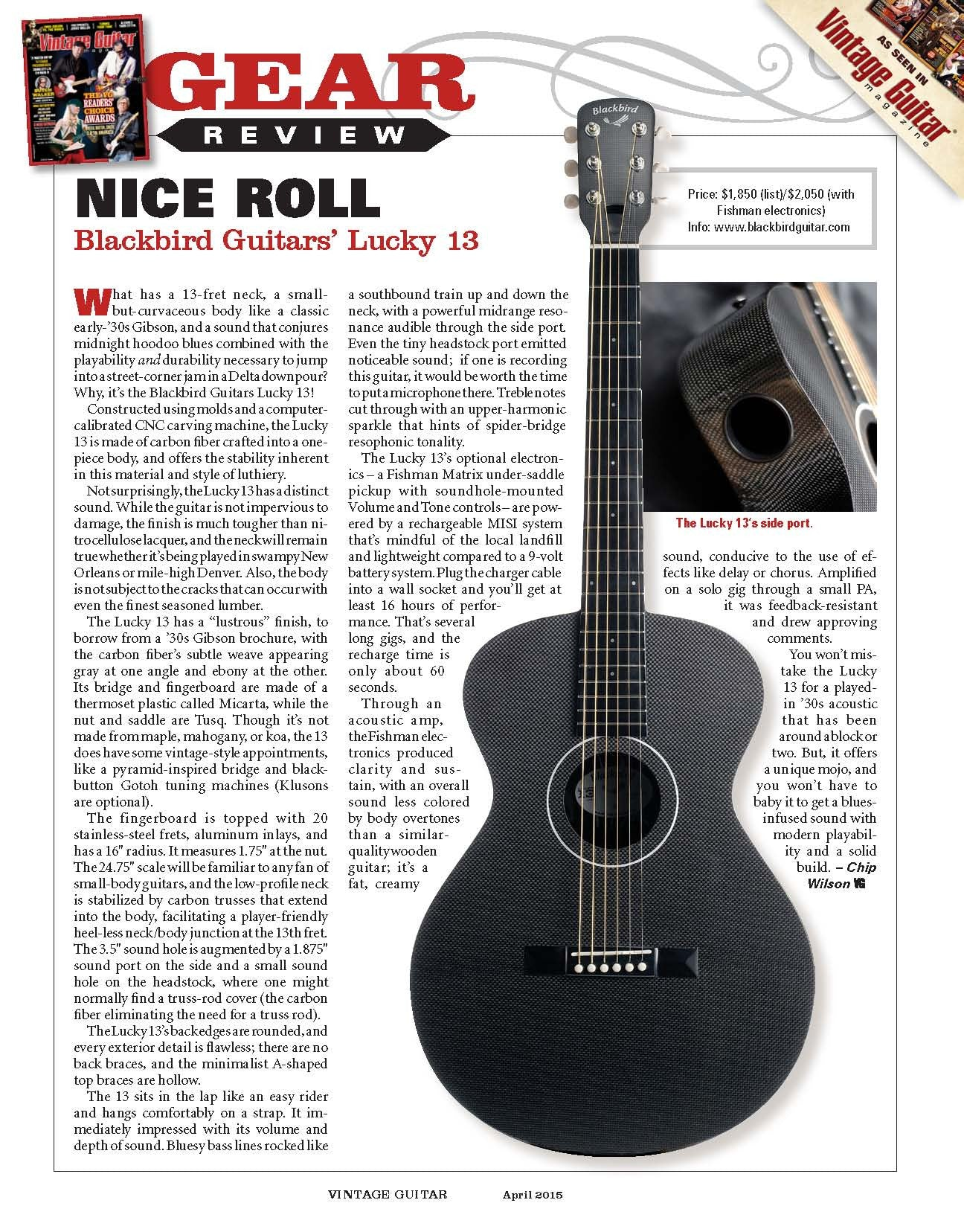 Lucky 13 in Vintage Guitar Magazine