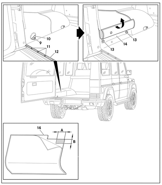 Instructions for opening the access panel for the Rear SAM Unit - Merecedes Gwagen
