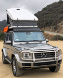 James Baroud Space Roof Top Tent white standard mounted to Mercedes 2019 Gwagen W463A