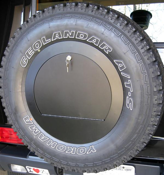 Rear spare wheel cover with lockable compartment for for Mercedes benz wheel covers