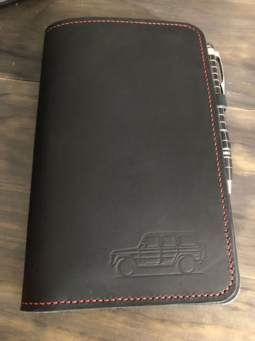 GWagen leather journal AMG red stitching Gelandewagen gift