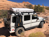 James Baroud Roof Top Tent Space Standard White mounted on Mercedes GWagon Slimline Roof Rack