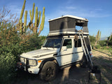 James Baroud Evasion roof top tent Hard Shell mounted on Mercedes GWagon