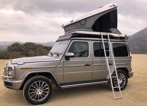 New 2019 2020 W463A Mercedes G-Class with Roof Top Tent Package James Baroud Space hard shell RTT