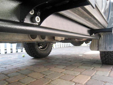 SWB Rockmeister Gwagen Rocksliders, G wagon rock sliders for short wheel base models detail showing aluminum running boards brackets