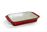 Cast Iron Single FL Roasting Pan - Red