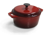 Cast Iron Single FL Med Casserole - Red