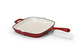 Cast Iron Square Skillet Pan - Red