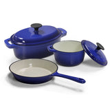 Cast Iron Pot Set - W&J 5pc - Blue