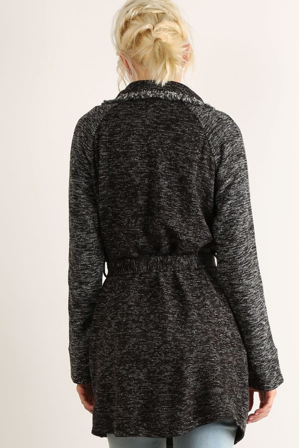 Tied Band Knit Jacket - Charcoal