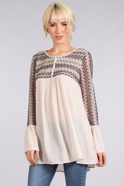 Peasant Embroidered Top - Natural