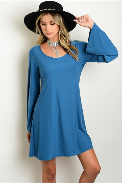 Bell Sleeves Shift Dress - Teal