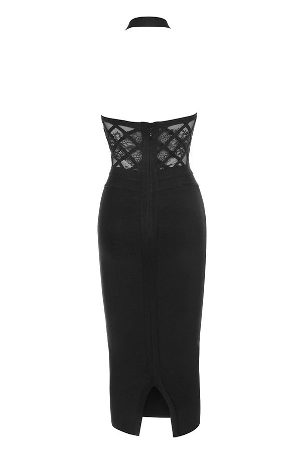 Backless Lace Bandage Dress - Black
