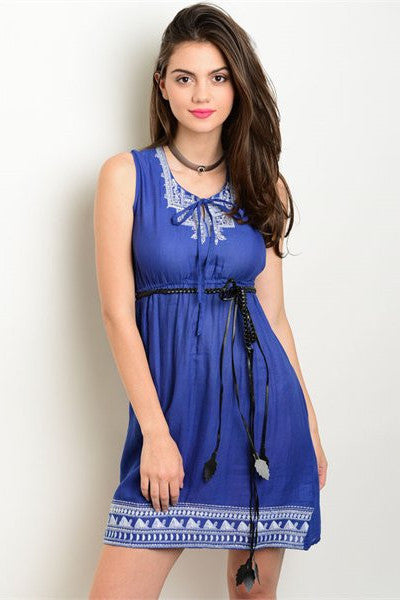 Embroidered Sleeveless Dress - Blue