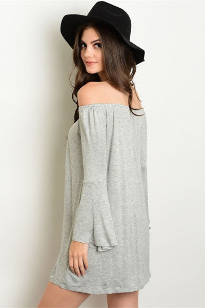 Bell Sleeve Off The Shoulder Dress - Light Gray