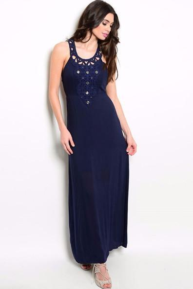 Contemporary Embellished Maxi Dress - Navy