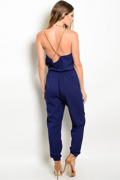 Gold Chain Jumpsuit - Navy