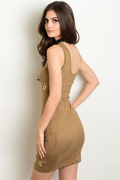 Faux Suede Grommet Dress - Brown
