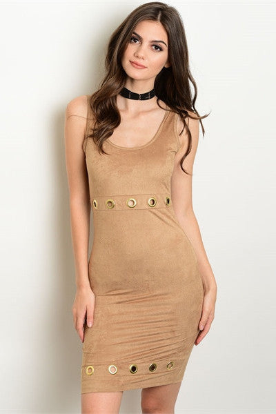 Faux Suede Grommet Dress - Nude