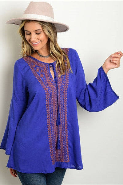 Bell Sleeves Tunic - Royal
