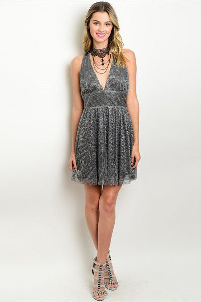 Back Cut Out Shimmer Dress