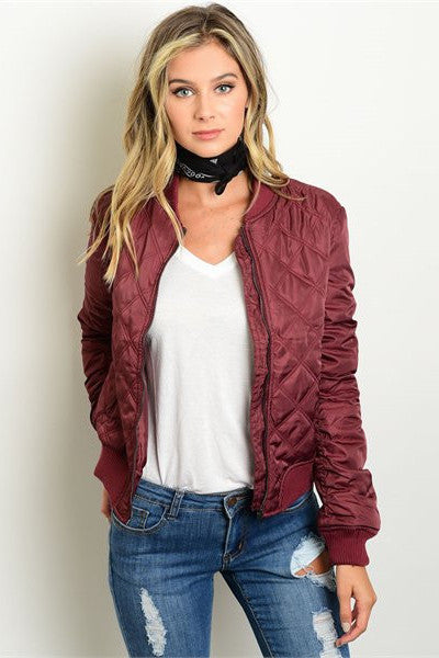 Quilted Bomber Jacket - Burgundy
