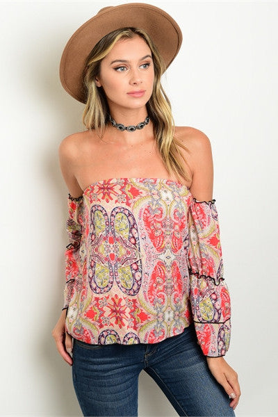 Paisley Print Off The Shoulder Top - Coral