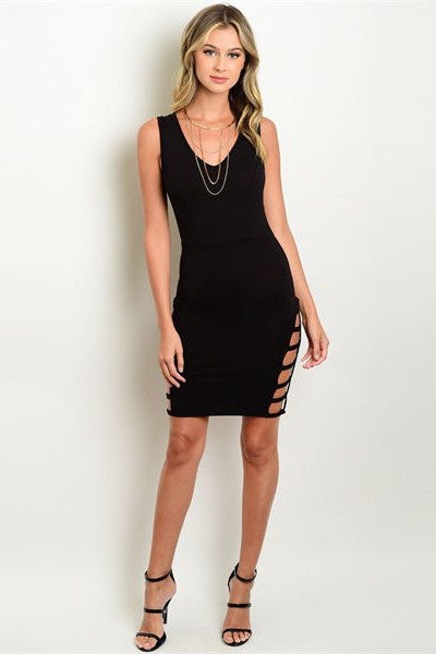 Side Cut Out Dress - Black