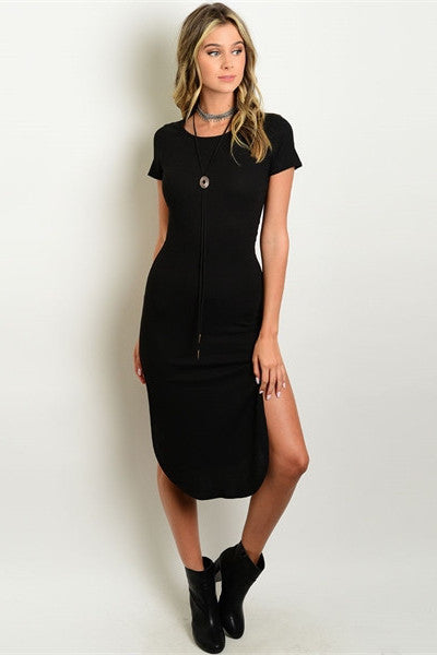 Ribbed Midi Dress - Black