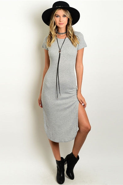 Ribbed Midi Dress - Gray
