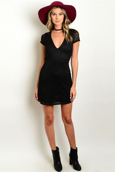 Back Cut Out Lace Dress - Black