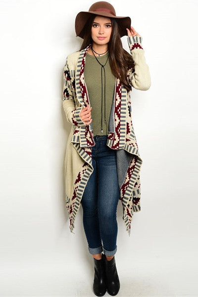 Tribal Print Drape Cardigan