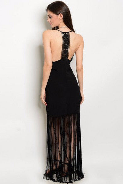 Fringe Hem Maxi Dress - Black